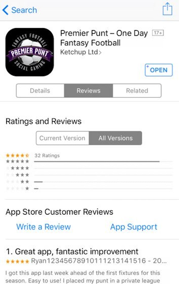 Screenshot of reviews on app store