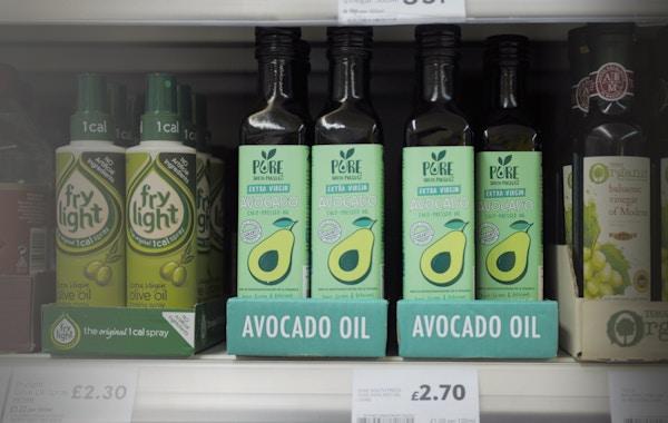 Pure avocado oil on shelf   tesco oct18