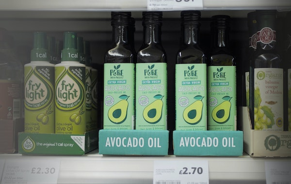 Pure avocado oil on shelf   tesco oct18