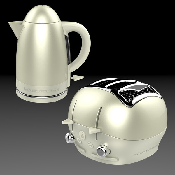 Funky kettle and toaster   cream 01